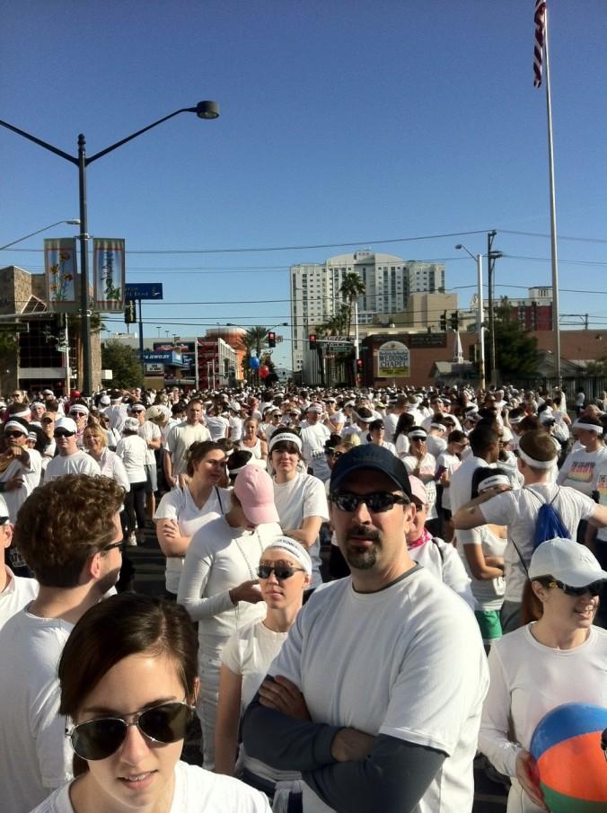 Pre-race crowd. Not a cult.