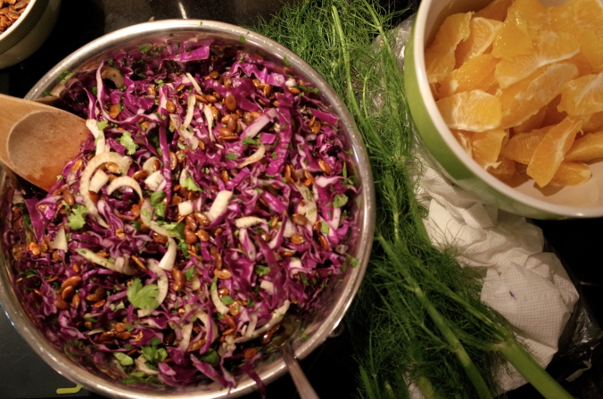 Red cabbage salad with fennel, orange and pepitas (a new recipe for 2014, not from one of my cookbooks).